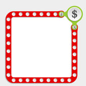 Red frame for any text with screws and dollar symbol — Stockvector