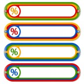 Four colored frames for any text and percent symbol — Stock Vector