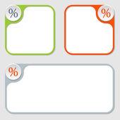 Set of three vector frames and percent  symbol — Stock Vector