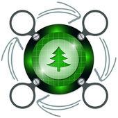 ツリーと矢印の付いたテキストの暗い円形フレーム — ストックベクタ