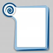 Blue box for any text and spiral — Stock Vector