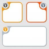Set of three vector frames and yen symbol — Stock Vector