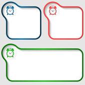 Three vector text frame and alarm clock — 图库矢量图片