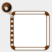 Perforated frame for any text and cup of coffee — Vector de stock