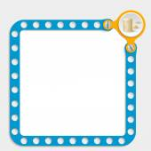 Blue frame for any text with screws and coin — Vector de stock