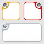 Set of three vector frames and trashcan symbol — Stock Vector