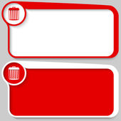 Set of two vector text box and trashcan symbol — Stock Vector