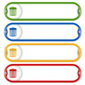Four frames for entering text with screws and trashcan — Stock Vector