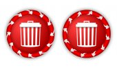 Set two icons with arrows and trashcan — Stock Vector