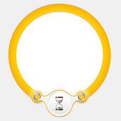Yellow circular frame for your text and sandglass — Cтоковый вектор