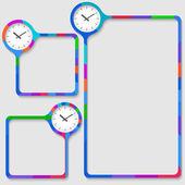 テキストと時計の 3 つのフレームのセット — ストックベクタ