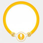 Yellow circular frame for your text and exclamation mark — Vector de stock