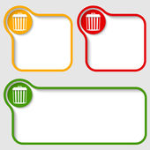 Set abstract text frames with trashcan — Stock Vector