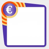 Dark purple box for your text and euro icon — Stock vektor