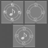 Conjunto de três quadros planos e símbolo de música — Vetor de Stock