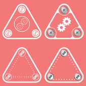 Set of four flat simple frames and cogwheels — Stock Vector
