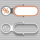 Two abstract frames with arrows and percent symbol — Stock Vector