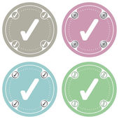 Set van vier gekleurde plat eenvoudige frames en selectievakje — Stockvector