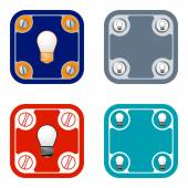 Set of four flat simple frames and bulb — Stock Vector