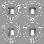 Set of four flat icons and trashcan — Vettoriale Stock