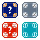 Set of four flat simple frames and question mark — Stock Vector