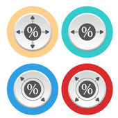Four circular abstract colored icons and percent symbol — Stock Vector