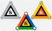 """Üç renkli üçgen ve """"ve"""" işareti kümesi — Stok Vektör"""