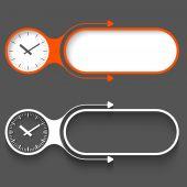 Två abstrakta ramar med pilar och klockor — Stockvektor