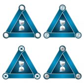 Set of four flat simple triangles with screws and sand glass — Stock Vector
