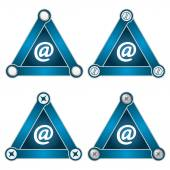 Set of four flat simple triangles with screws and email symbol — Stock Vector