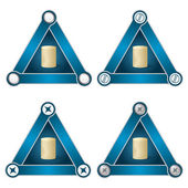Set of four flat simple triangles with screws and coin — Stock Vector