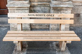 Non Whites only -reconstructed apartheid bench in Cape Town — Stock Photo