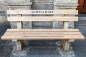 Whites only - reconstructed apartheid bench in Cape Town — Stock Photo