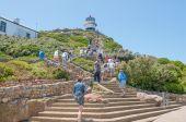 Aufstieg von Standseilbahn zum historischen Leuchtturm am Cape Point — Stockfoto