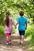 Erkek ve kız yürüyüş — Stok fotoğraf