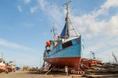 Fishing vessel in dock — Stock Photo