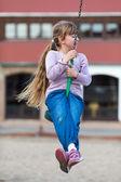 Girl on zip line — Stock Photo