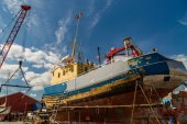 Boat under repair — Stock Photo