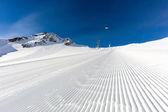 Groomed ski run at ski resort — Стоковое фото