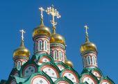 Golden domes Church of St. Nicholas in Khamovniki — Stock Photo