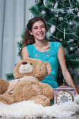 Girl and new year — Stock Photo