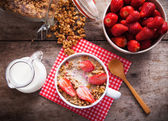 Healthy breakfast with granola and strawberry — Stock Photo
