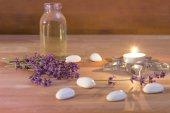 Tea Candle and lavender — Stockfoto