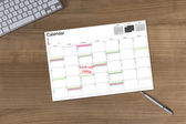 Calendar Kick-off today on wooden Table — Stock Photo