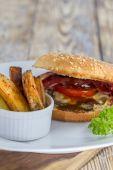 Hamburger and Fries — Stock Photo