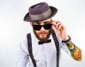 Portrait of a stylish hipster — Stock Photo