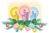 Christmas candles and gifts — Stock Vector