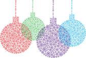 Color vector christmas balls made of snow flakes — Stock Vector