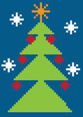 Color vector illustration with digital christmas tree — Stock Vector