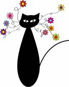 Color vector illustration of cat and flowers — Stock Vector